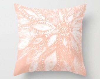 Blush Pink Modern Flower Throw Pillow Cover, pink floral pillow, blush pink pillow, light pink pillow, pink throw pillow, pink flower pillow