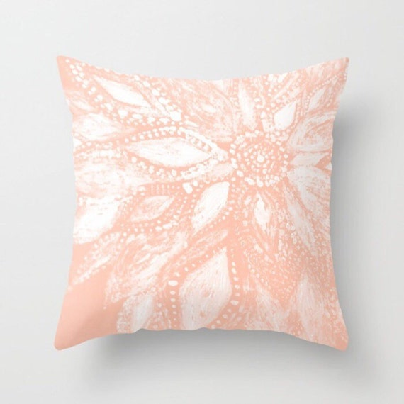 Blush Pink Modern Flower Throw Pillow Cover pink floral