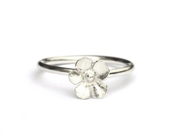 Small Sakura flower sterling silver ring