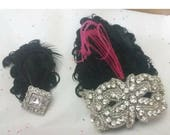 Rhinestone and feather  corsage and boutonniere set, wrist corsage, prom corsage, corsages for prom, feather corsage
