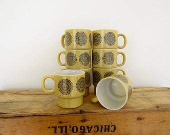 Brown Medallion Stacking Mugs