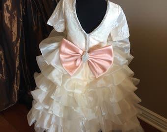 Ivory and peach Dress | Easter Dress | Pageant Dress | Flower Girl Dress  | big bow Dress | ivory layers Dress