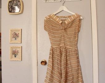 1950s sheer golden striped dress