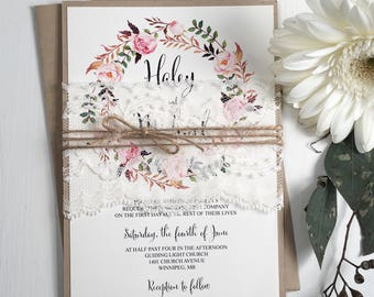 Floral Wedding Invitation, Lace Wedding Invitation, Vintage Wedding Invitation, Rustic Invitation, DIY Kit