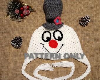 Crochet PDF PATTERN Friendly Snowman Hat