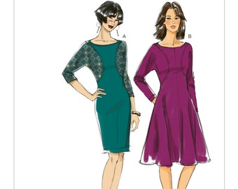 Vogue V8919 Misses' Knit Dress with Contrast and Seam Detail Sewing Pattern