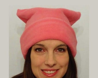 Pink or Black or Green Pussyhat Project Fleece Hat Pink Cat Hat Pussycat Women's Rights Feminist Hat Women's March Peoples Climate March