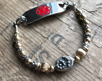 Silver Floral and 14K Gold Filled Medical Bracelet - Includes FREE Medical tag with Engraving