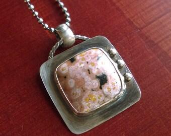Ocean Jasper & Sterling Silver Pendant; Handmade Jewelry; Metalwork