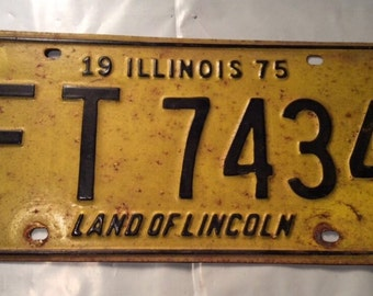 1975 License Plate, Vintage Yellow License Plate, Vintage Illinois License Plate,