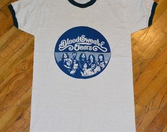 1974 BLOOD SWEAT & TEARS vintage concert tour rare original jazz r+b rock t-shirt ringer Medium/Large 70s 1970s