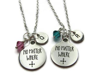 2 No Matter Where Necklaces, 2 Best Friends Necklaces, Birthstone Necklaces, Bff Necklaces, Sisters Necklaces, Mother Daughter, Personalized