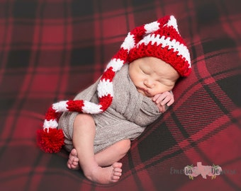 elf hat, long stocking cap, long tail hat, baby girl hat, baby boy hat, christmas hat, crochet hat, photography prop, crochet christmas hat