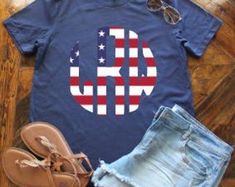 American Flag Monogram Shirt / Glitter Flag Shirt / Fourth of July Monogram Shirt / Flag Monogram Shirt / Merica Shirt