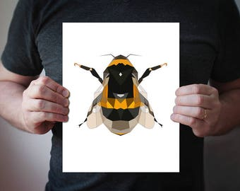Bee Art Print, Bumblebee, Geometric Bee Art 5x7 8x10 11x14, Yellow Black Art Print, Animal Wall Decor, Bee Print, Bedroom Wall Art, Nursery