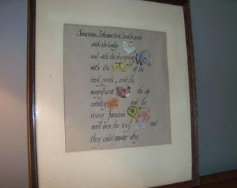 Vintage Handmade Large Wall Art Animals Calligraphy Quote Nature Lover World