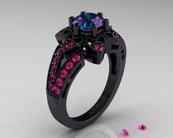 Art Deco 14K Black Gold 1.0 Ct Alexandrite Pink Sapphire Wedding Ring, Engagement Ring R286-14KBGPSAL