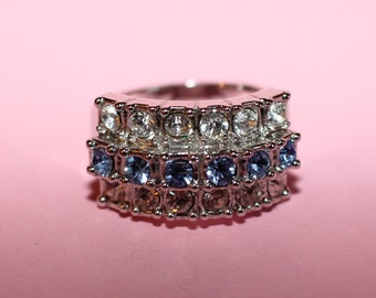 Stunning Vintage White and Blue Cubic Zirconia Platinum Coated Dress Ring