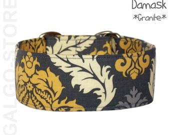 "grey dog collar *damask caramel*, boy dog collar, adjustable, custom, martingale, buckle, tag collar; 1""- 2"" wide; XS- XL, greyhound collar"