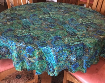 "Vintage Round tablecloth 68"" round blue teal green brown"
