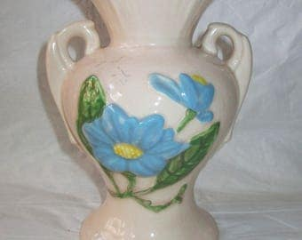 "Vintage 1947-48 Hull Art Pottery Blue Magnolia Gloss (""As Is"") Vase #H-4 6-1/2"""