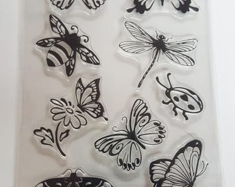 Acrylic Stamp Set Insects Butterflies, bee, ladybug