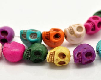 Howlite Skull Beads, Multicolored Skulls, 13mm Howlite Beads, 1 Strand