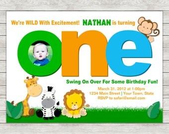 Jungle 1st Birthday Invitation, Jungle Safari Invite - Printable File or Printed Invitations