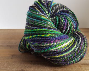 Handspun-Superwash-Targhee wool- 2ply-Sport weight- Hand painted - 270 yards- Handspun Yarn~  What's in Your Cauldron