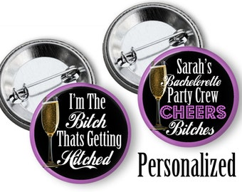 Custom Bachelorette Bridal Shower Party Favors 2.25 inch Pinback Buttons Pins Badges The Bachelorette Party Crew Team Bride