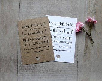 Personalised Magnet Save The Date Evening Vintage/Shabby Chic Rustic Wedding Card Invitation