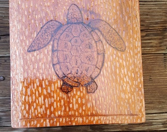 Hand crafted wood burning turtle on upcycled cigar box