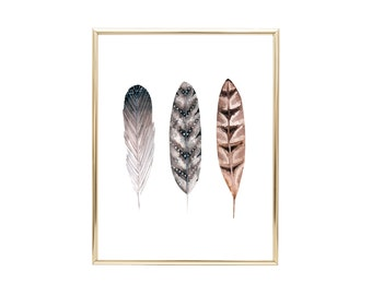 YOU PRINT PRINTABLE Wall Art - 8x10 Jpeg - Watercolor Feather Trio, Home Decor, Housewarming Gift, Inspirational Quote, Nursery Decor