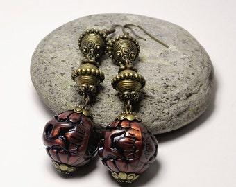 Dangle Earrings Drop Earrings Long Statement Earrings Brown Beaded Earrings Bohemian Earrings Gypsy Earrings Gift Handmade Fashion Jewelry