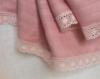Dusty pink tablecloth, old rose linen runner with crochet lace, small pure linen table tablecloth