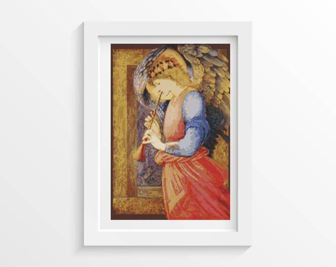 Cross Stitch Pattern PDF, Embroidery Chart, Art Cross Stitch, Angel by Sir Edward Burne-Jones (BURNE01)