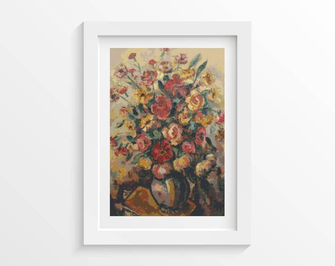 Vase with Flowers Cross Stitch Pattern PDF by Nicolae Darascu (DARAS01)