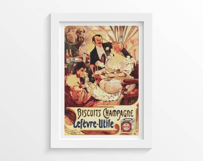 Cross Stitch Pattern PDF, Embroidery Chart, Art Cross Stitch, Biscuits Champagne-Lefèvre-Utile by Alphonse Mucha (MUCHA06)