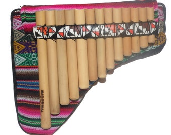 Pan Flute 13 pipes - Inca Motifs  from Peru - Item in USA -Case Included