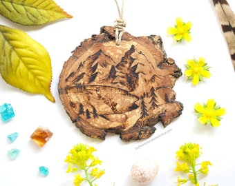 """Personalized Mountain Wood Slice Ornament - 2.5"""" by 3"""", Mountain Lake Scene, Natural Wood-Burned Ornament, Rustic Customized Wood Ornament"""