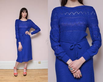 70s Cobalt Blue Sweater Dress M Pointelle Knit Hippie Preppy Boat Neck Belt Dress Zig Zag Knit Spring Dress Midi Dress
