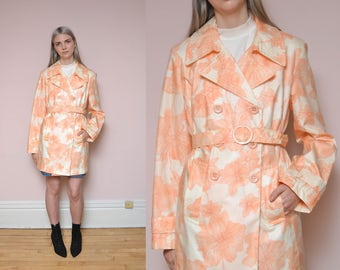 90s Floral Printed Rain Jacket L Peach Pastel Pink Pansy Printed Belted Double Breasted Spring Coat Trench Coat Rain Coat