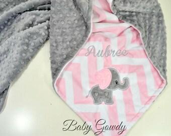 Personalized Minky Baby Blanket - Baby Elephant Blanket - Blush Chevron Minky - Silver Minky Dimple Dot - Monogrammed Blanket - Customize