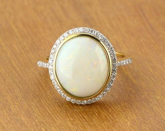 White Opal & Diamond Engagement Ring 14K Gold SKU: 1864B002-8x6
