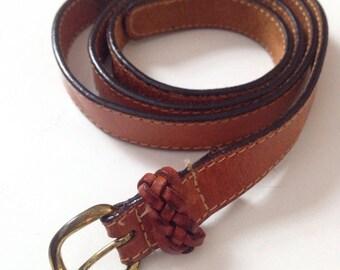 Slender Leather Gold Buckle Belt
