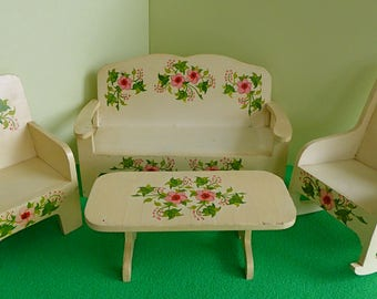"Reduced Price: HAND-PAINTED FURNITURE from the 1950's for all 8""-11""/20-25cm dolls like Barbie, Blythe, Ginny, Patch, Pepper, Riley Kish"