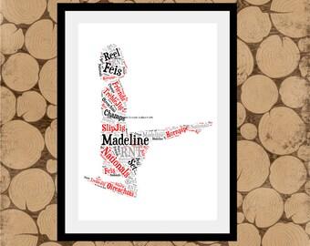 Irish Dancer Print, Personalised Irish Dancer, Irish Dancer Word Art, Irish Dancer Word Collage,Irish Dancer Gift, Personalised Irish Dancer