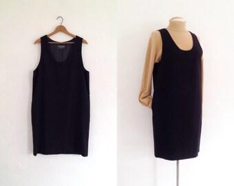 black jumper dress womens / tunic minimalist dress / oversized dress black / 90s clothing sleeveless