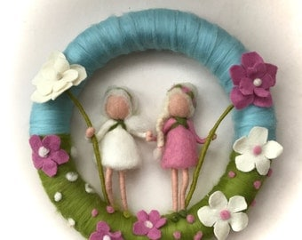 Flower-children ,Wreath. Felted .Waldorf. Wall hanging.Spring.