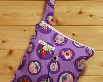 Knitting Bag, Crochet, Knit, Yarn, Wool, Purple Pokemon, Yarn Storage, Yarn Bag with Hole, Grommet, Handle, SYB132